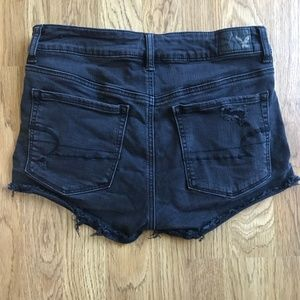 American Eagle Black Stretch Hi-Rise Shortie--6